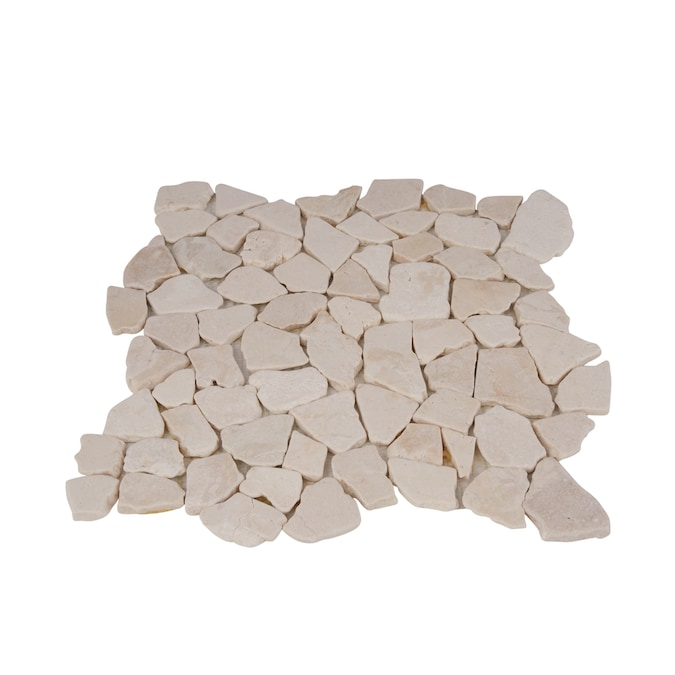 Rain Forest Stone Mosaic Pebble Tiles 5 Pack White 12 In X