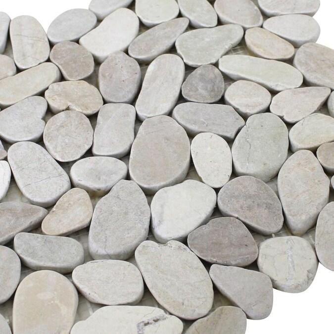 Rain Forest Honed Sliced Pebble Tiles 5 Pack White 12 In X