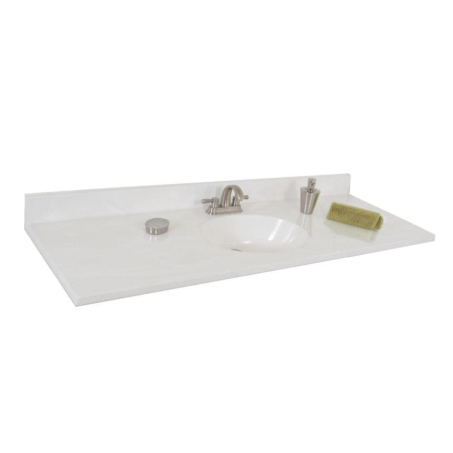 Style Selections Oval White On Cultured Marble Integral Single Sink Bathroom Vanity Top Common