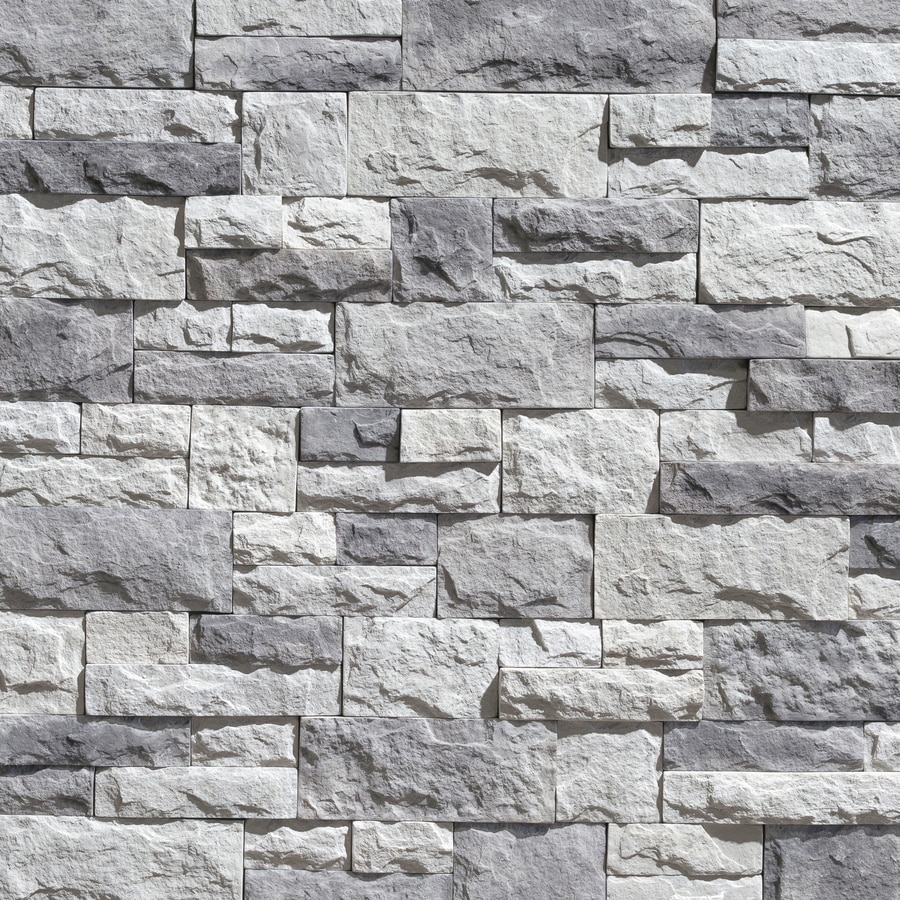Stone Veneer White : Shop litestone square ft shadow grey faux stone veneer