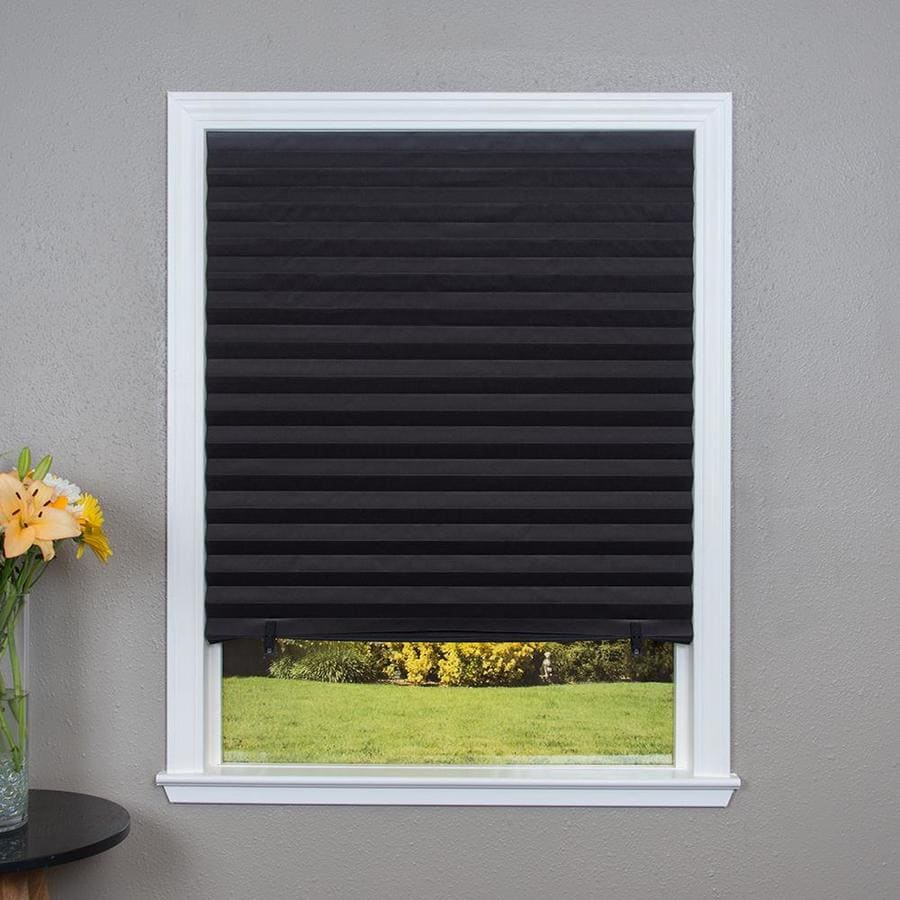 Shop redi shade black blackout cordless paper pleated for Smart window shades