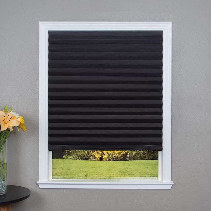 Redi Shade Black Blackout Cordless Pleated Shade Actual 48 In X