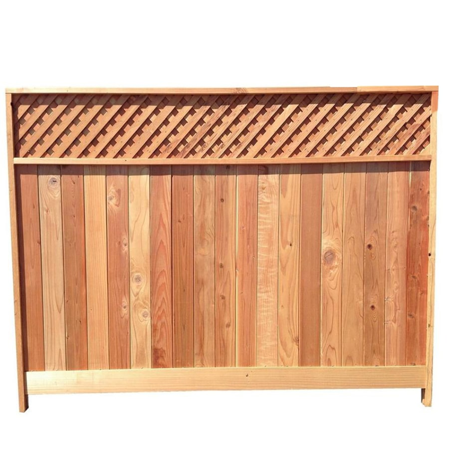 Redwood Fence Top Choice (Actual: 6-ft x 8-ft) Natural Redwood Lattice-top Wood Fence  Panel