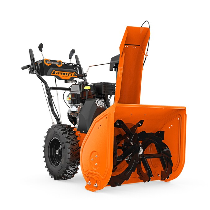 Ariens Deluxe 24 24 In 254 Cc Two Stage Self Propelled Gas Snow Blower With Push Button Electric Start Power Steering Headlight S In The Gas Snow Blowers Department At Lowes Com