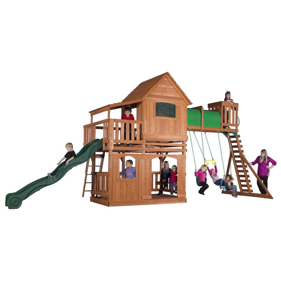 Backyard Discovery Woodridge II Residential Wood Playset with Swings