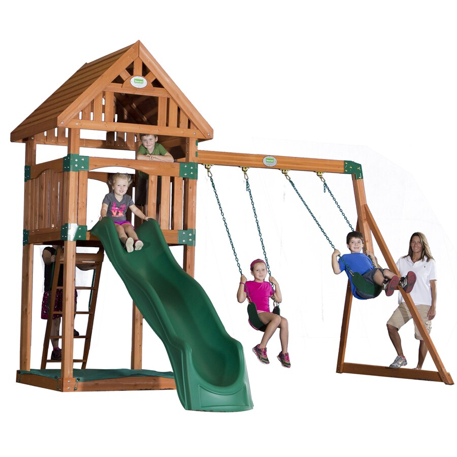 Backyard Discovery Trek Expandable Residential Wood Playset with Swings