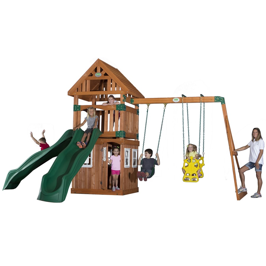 Backyard Discovery Outing Expandable Residential Wood Playset with Swings