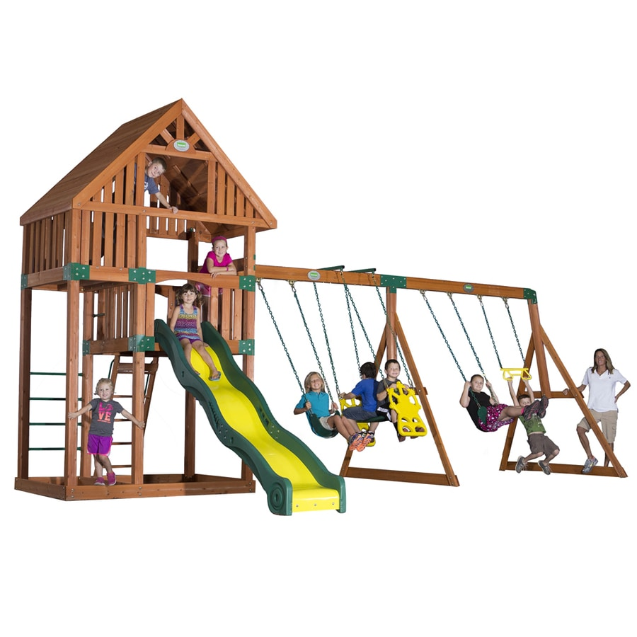 Backyard Discovery Quest Expandable Residential Wood Playset with Swings