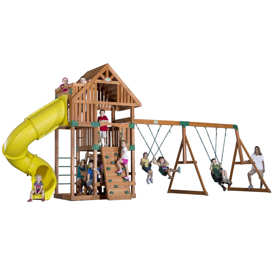 Backyard Discovery Excursion All Cedar Wood Playset with Swings