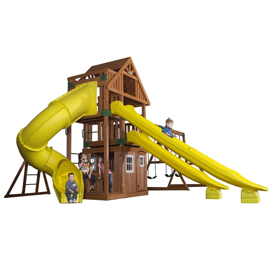 Backyard Discovery Traverse Expandable Residential Wood Playset with Swings