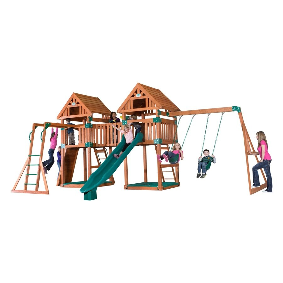 Backyard Discovery Kings Peak Expandable Residential Wood Playset with Swings