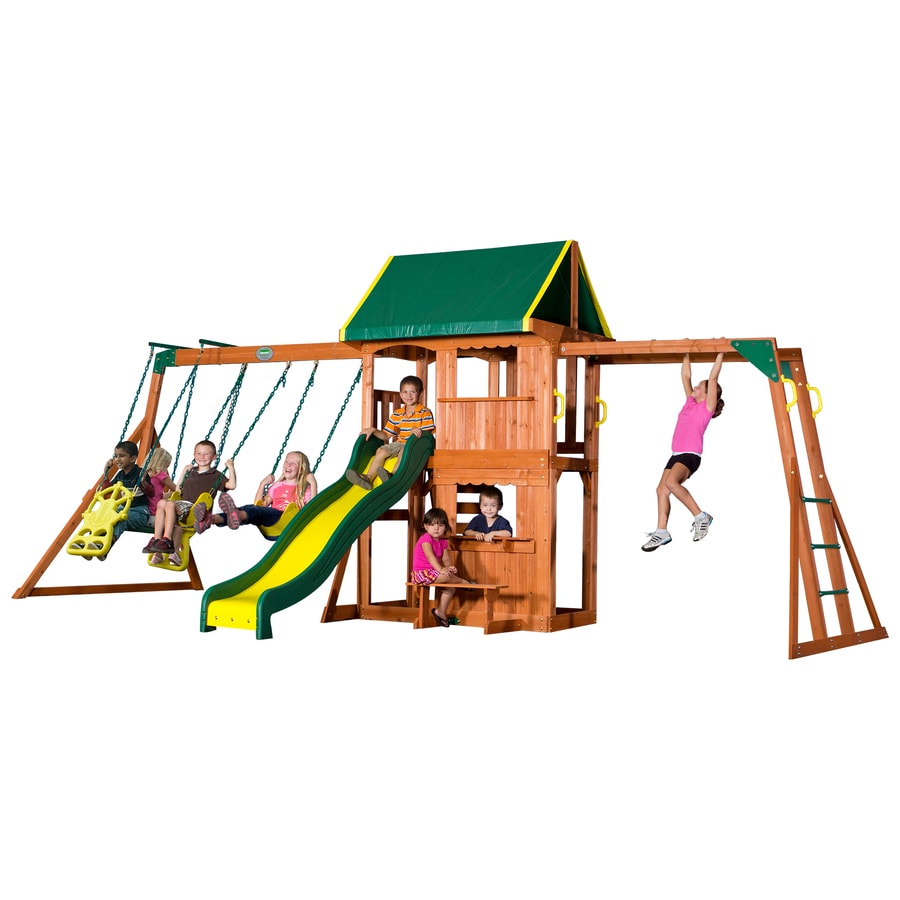 Backyard Discovery Prairie Ridge Residential Wood Playset with Swings