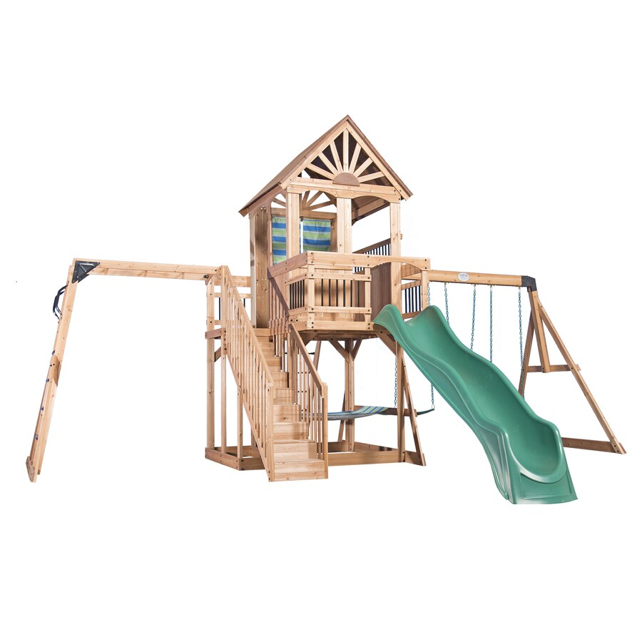 Backyard Discovery Backyard Discovery Oceanview Residential Wood Playset with Swings