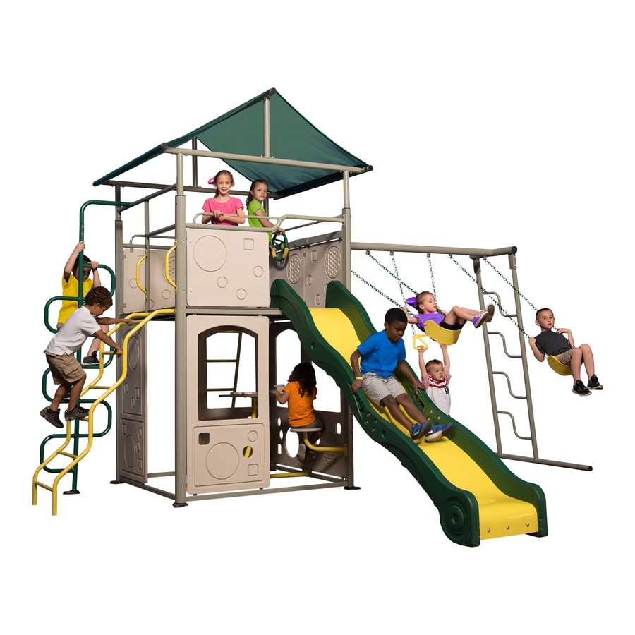 Superbe Backyard Discovery Power Tower Swing Set Residential Metal Playset With  Swings