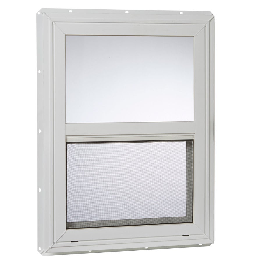 Project Source 20000 Vinyl New Construction White Exterior Single Hung Window Rough Opening 18 In X 24 Actual 17 5 23