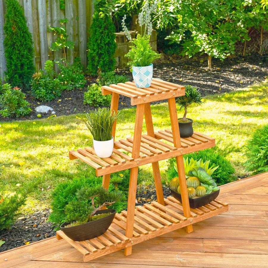 Leisure Season 32 In Medium Brown Outdoor Rectangular Wood Plant Stand In The Plant Stands Department At Lowes Com