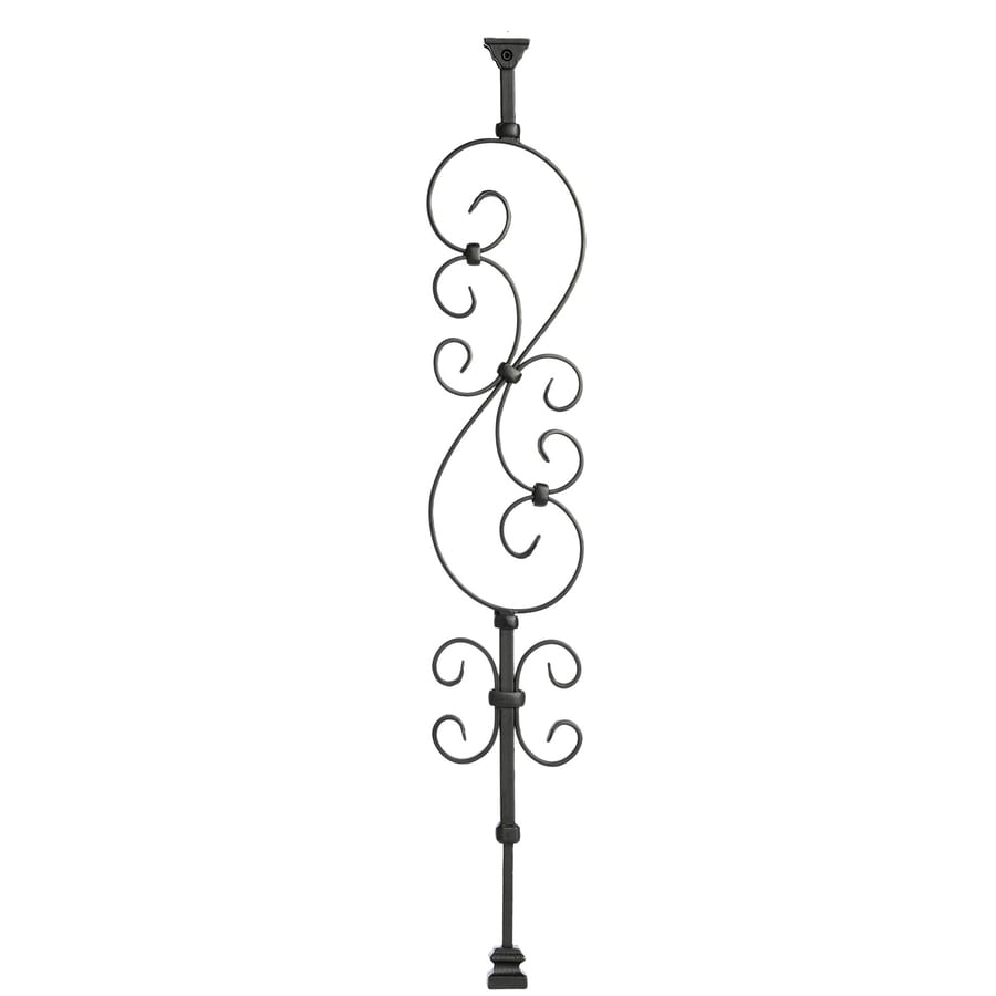 Ole' Iron Slides 32.5-in Satin Black Powder Coat Wrought Iron Scroll Stair Baluster