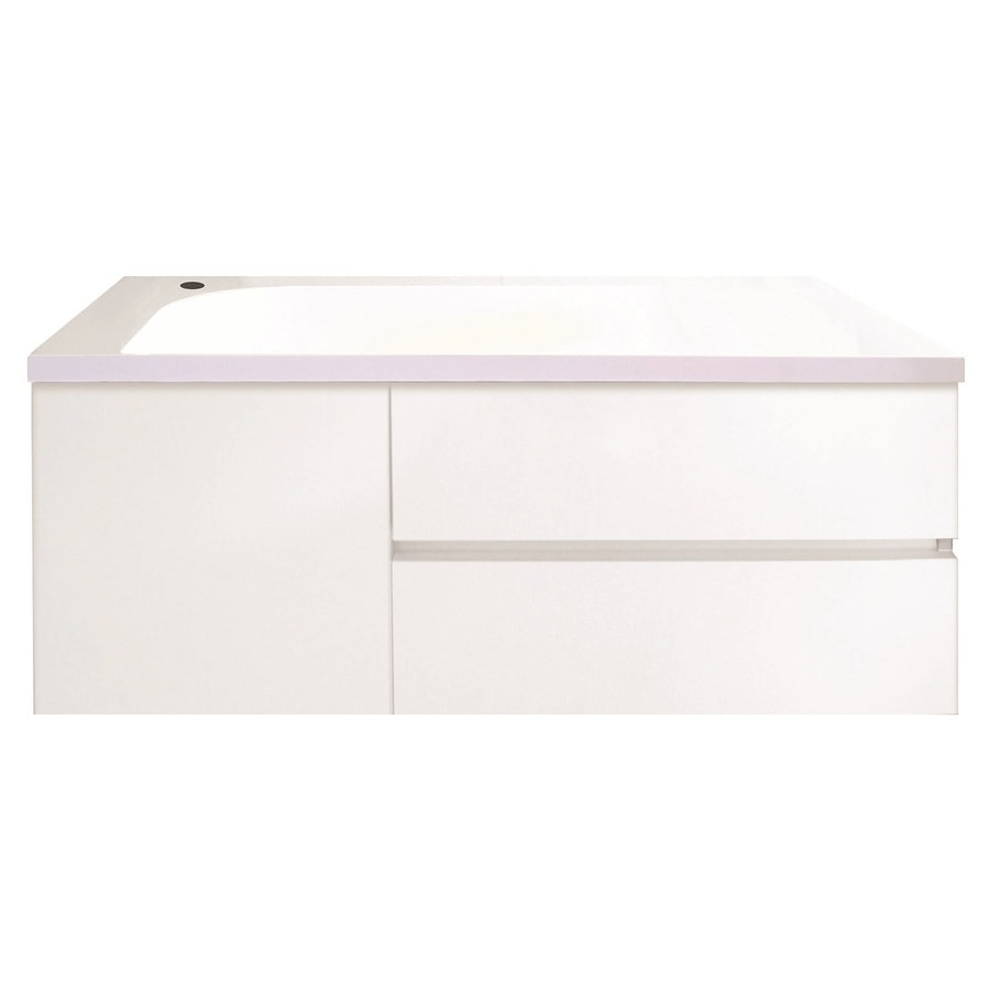 Bondi Designs Saber White Gloss Polyurethane Single Sink Bathroom Vanity with Solid Surface Top (Common: 36-in x 19-in; Actual: 35.75-in x 19.5-in)