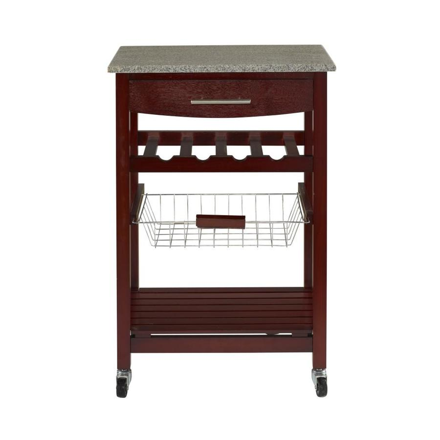 Go Home Black Industrial Kitchen Cart At Lowes Com: Linon Granite Top Espresso Kitchen Cart At Lowes.com