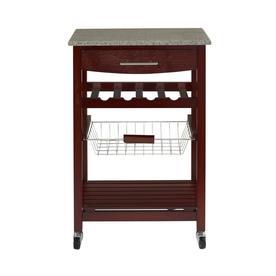 Linon Granite Top Espresso Kitchen Cart