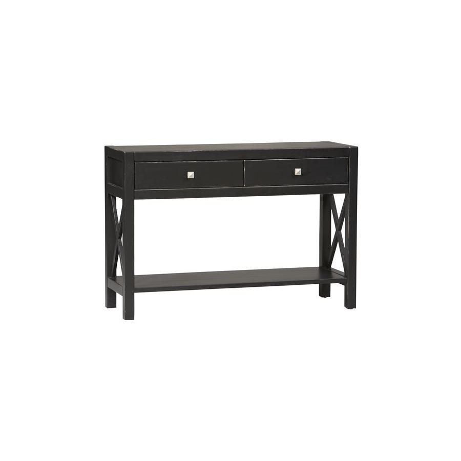 Linon Anna Black Asian Hardwood Rectangular Console and Sofa Table