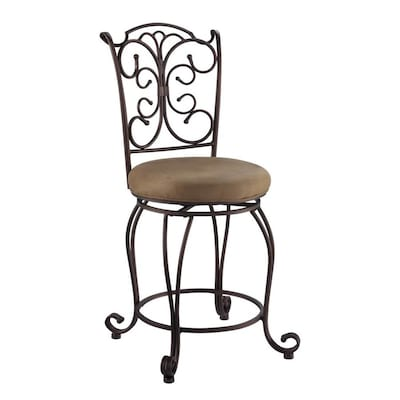 Linon Gathered Back Counter Stool 24 Brown Counter Height Upholstered Swivel Bar Stool In The Bar Stools Department At Lowes Com