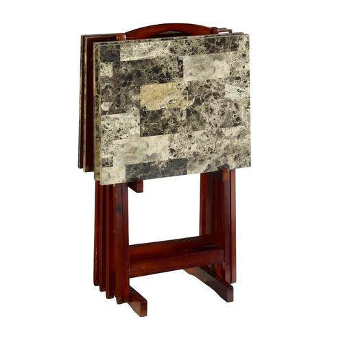 Linon 18 88 In X 15 75 In Brown Faux Marble Rectangle Serving Tray In The Serving Trays Caddies Department At Lowes Com
