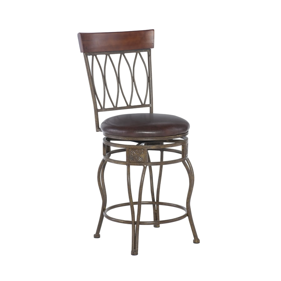 Linon Four Oval Back Counter Stool 24 Brown Counter Height Upholstered Swivel Bar Stool In The Bar Stools Department At Lowes Com