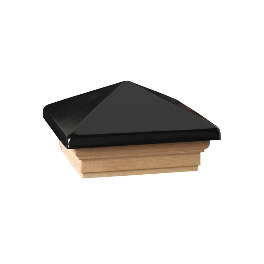 Dekorators (Fits Common Post Measurement: 4-in x 4-in; Actual: 5.63-in x 5.63-in x 3.1-in) Black Plastic Cedar Deck Post Cap