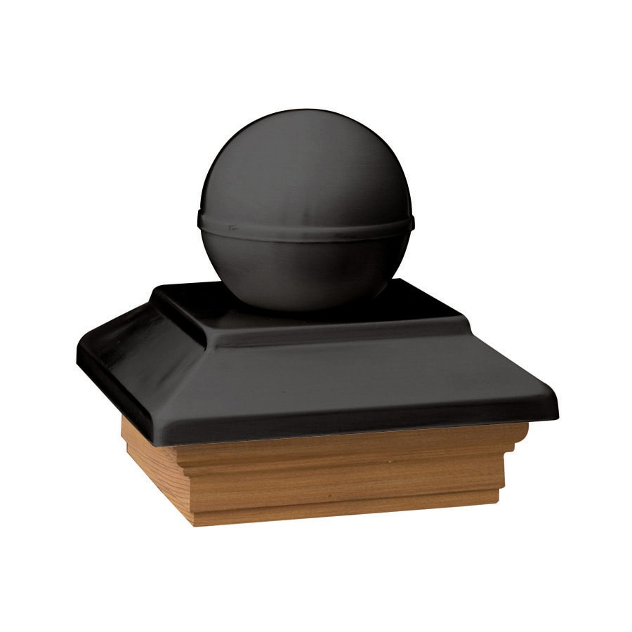 Deckorators (Fits Common Post Measurement: 6-in x 6-in; Actual: 8-in x 8-in x 3.25-in) Black Metal Pine Deck Post Cap