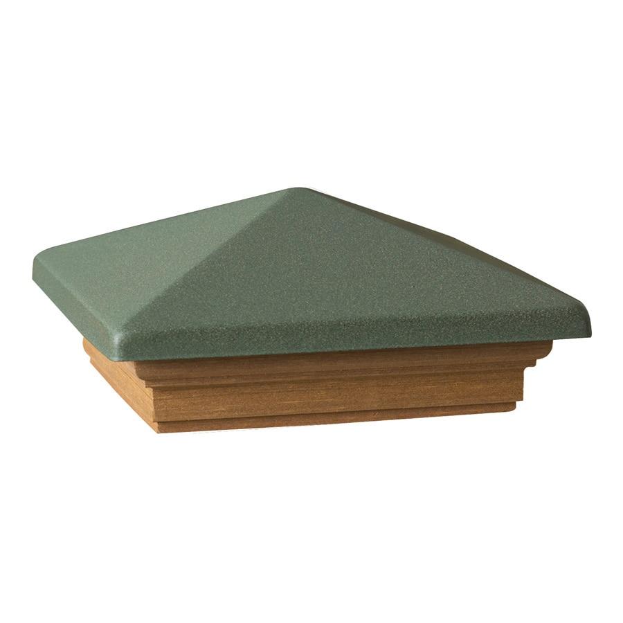 Deckorators (Fits Common Post Measurement: 6-in x 6-in; Actual: 8-in x 8-in x 3.25-in) Green Metal Cedar Deck Post Cap