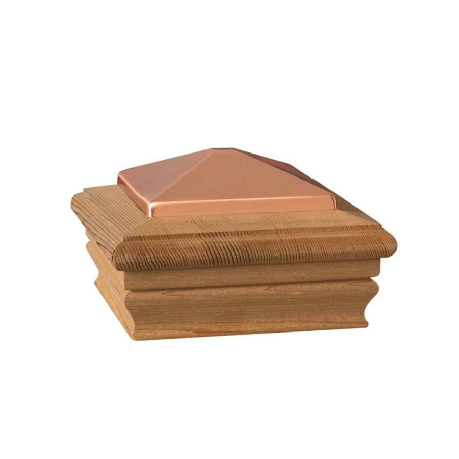 Dekorators (Fits Common Post Measurement: 4-in x 4-in; Actual: 5.32-in x 5.28-in x 3.28-in) Copper Wood Cedar Deck Post Cap