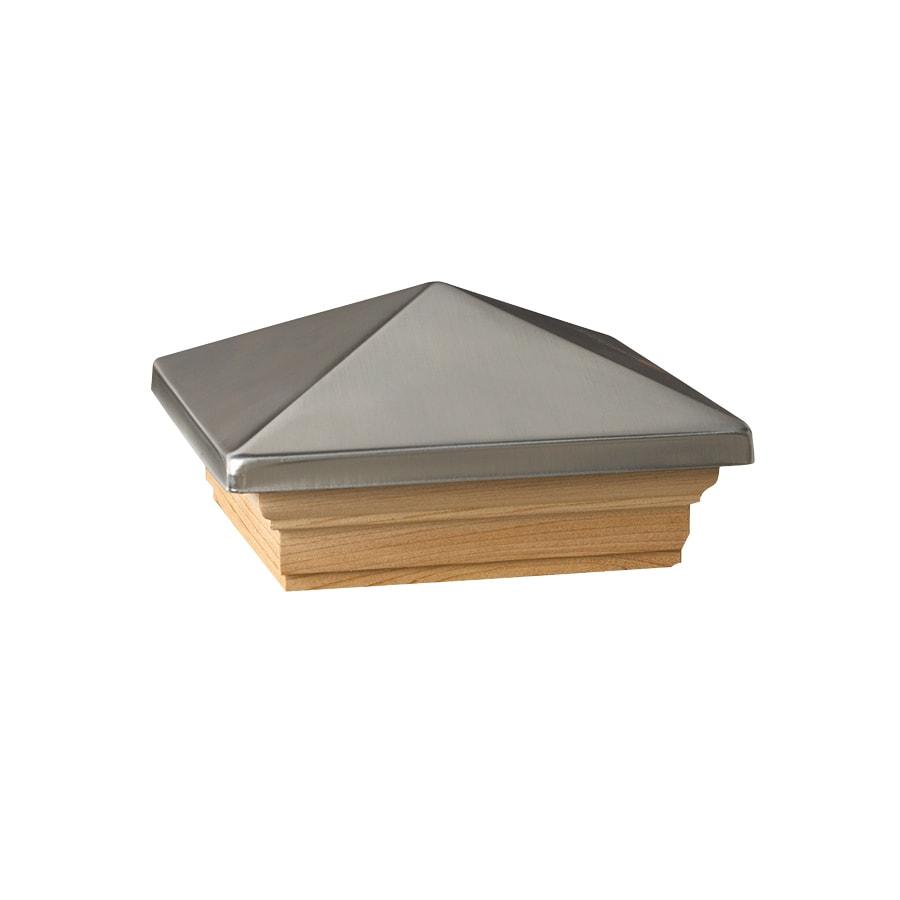 Dekorators (Fits Common Post Measurement: 4-in x 4-in; Actual: 5.63-in x 5.63-in x 3.1-in) Black Metal Pine Deck Post Cap