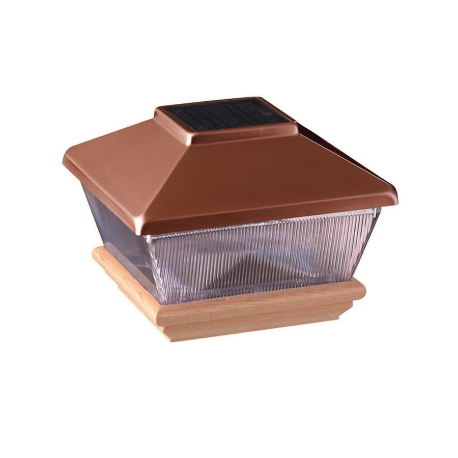 Maine Ornamental Copper Led Plastic Cedar Deck Post Cap (Fits Common Post Measurement: 4-in x 4-in; Actual: 6.19-in x 6.19-in x 4.45-in)