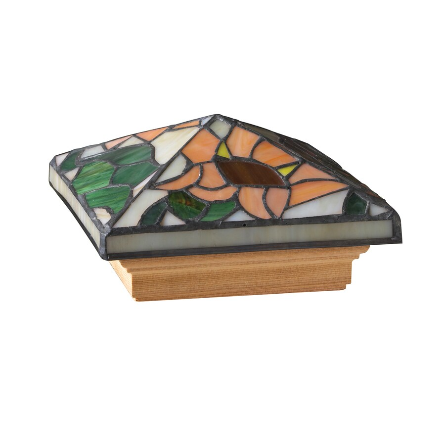 Maine Ornamental Stained Glass  Glass Cedar Deck Post Cap (Fits Common Post Measurement: 4-in x 4-in; Actual: 5.94-in x 5.94-in x 3.6-in)