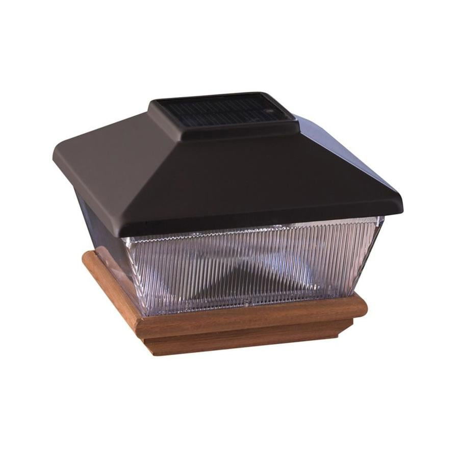 Maine Ornamental 4-in x 4-in Black Plastic and Wood Solar Post Cap