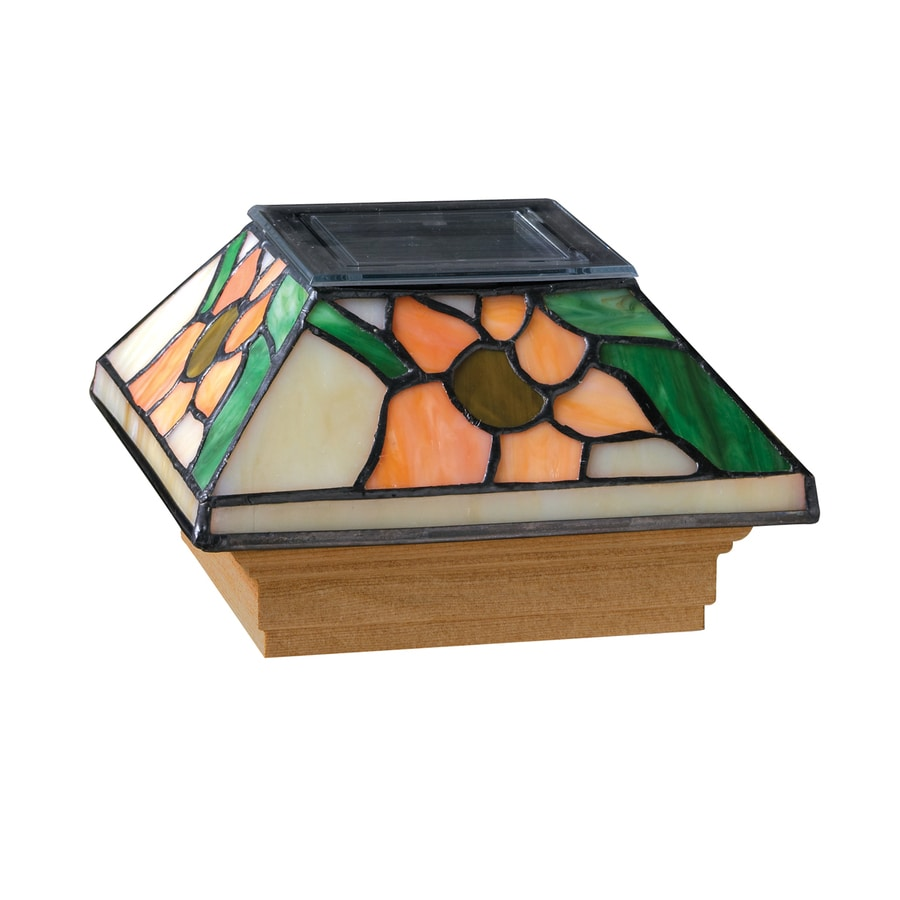 Maine Ornamental 4-in x 4-in Stained Glass and Wood Solar Post Cap