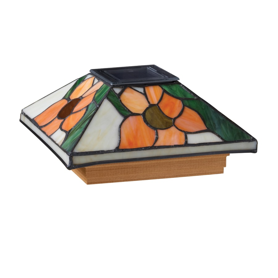 Maine Ornamental 6-in x 6-in Stained Glass and Wood Solar Post Cap