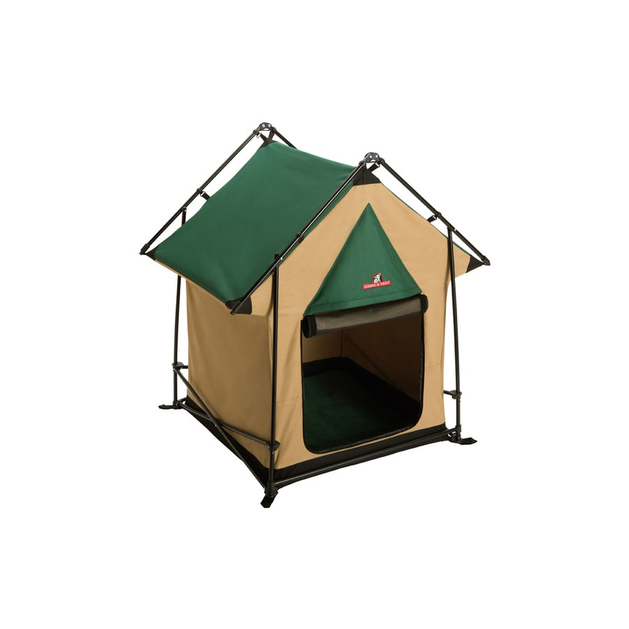 Lucky Dog 2.59-ft x 2.59-ft x 3.92-ft Green and Tan Collapsible Wire and Fabric Pet Crate