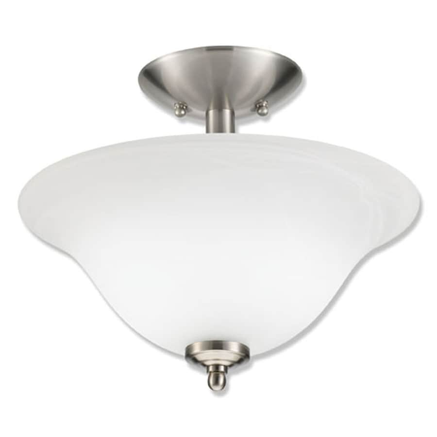 Good Earth Lighting Taverna 13.25-in W Brushed Nickel Alabaster Glass Semi-Flush Mount Light