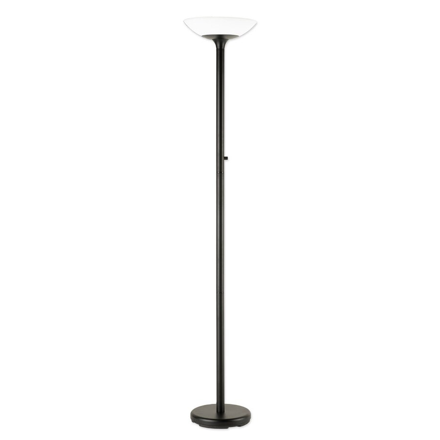 Good Earth Lighting 72-in Black Torchiere Floor Lamp with Glass Shade