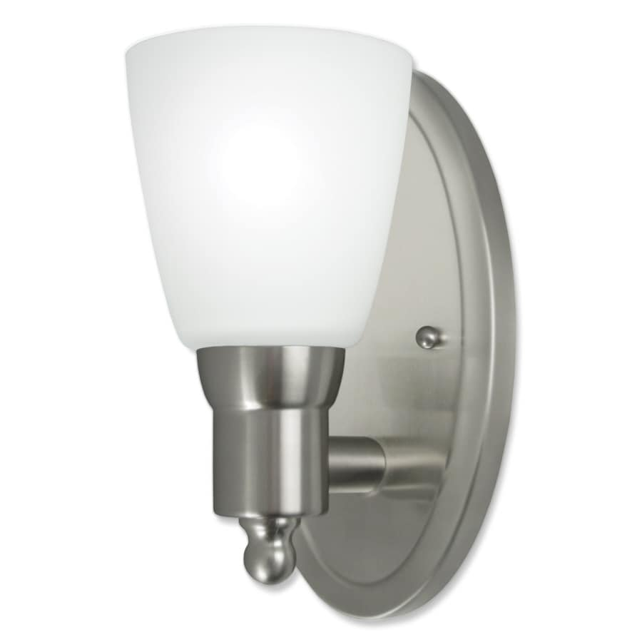 Shop wall sconces at lowes good earth lighting danube 525 in w 1 light brushed nickel arm wall sconce amipublicfo Image collections
