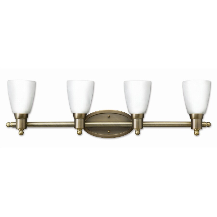 Good Earth Lighting 4-Light Danube Antique Brass Bathroom Vanity Light - Shop Good Earth Lighting 4-Light Danube Antique Brass Bathroom