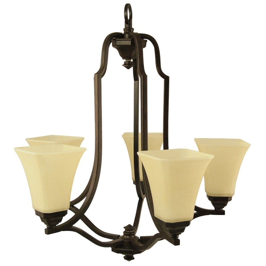 Good Earth Lighting Metropolitan 25.62-in 5-Light Bronze Tinted Glass Standard Chandelier