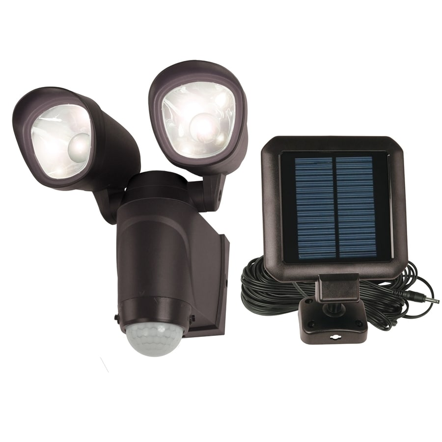 Utilitech 110-Degree 2-Head Black Solar Powered Integrated LED Motion-Activated Flood Light
