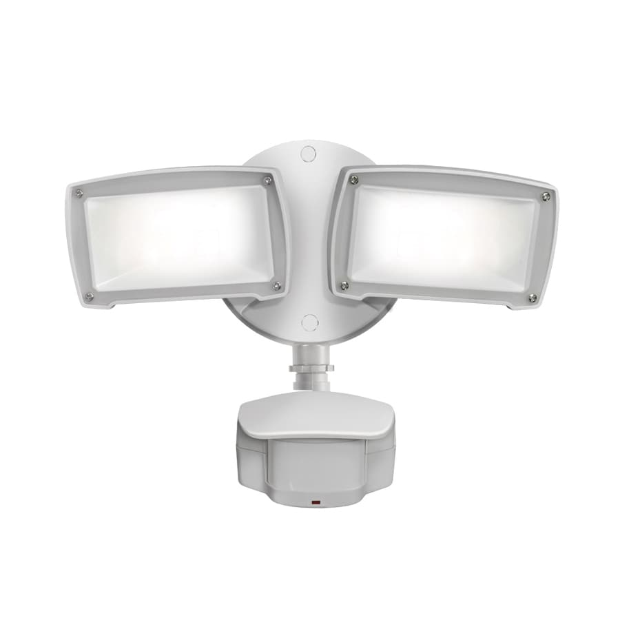 Utilitech Pro 180-Degree 2-Head White Integrated LED Motion-Activated Flood Light