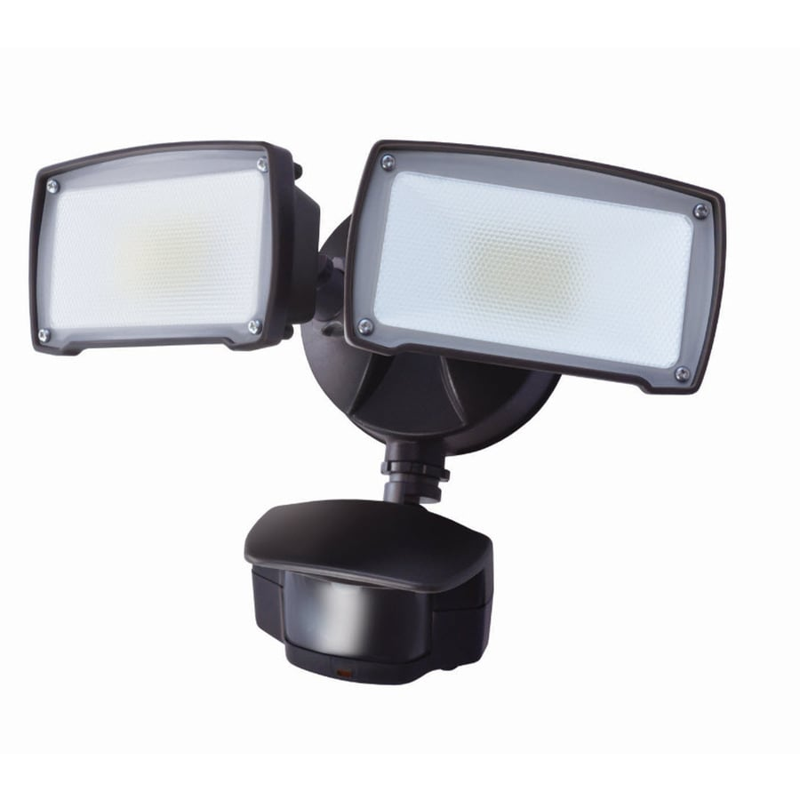180 degree 2 head bronze led motion activated flood light at. Black Bedroom Furniture Sets. Home Design Ideas