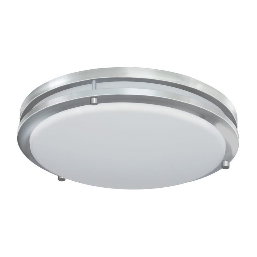 lighting jordan 14 in w satin nickel led flush mount light at lowes. Black Bedroom Furniture Sets. Home Design Ideas