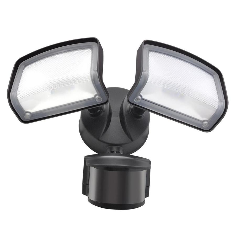 Shop security flood lights at lowes good earth lighting downfire 240 degree 2 head dual detection zone bronze integrated led workwithnaturefo