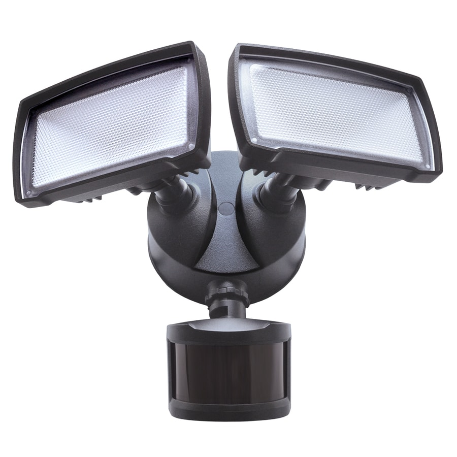 good earth lighting 180 degree 2 head led motion activated flood light. Black Bedroom Furniture Sets. Home Design Ideas